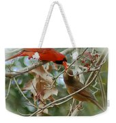 Cardinal Kisses Weekender Tote Bag