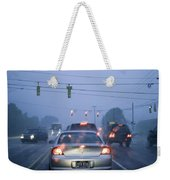 Cars And Traffic Lights In A Rain Storm Weekender Tote Bag