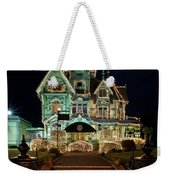 Carson Mansion At Christmas With Moon Weekender Tote Bag