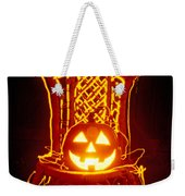 Carved Smiling Pumpkin On Chair Weekender Tote Bag