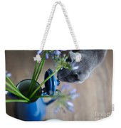 Cat And Flowers Weekender Tote Bag