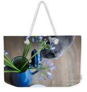 Cat And Flowers Weekender Tote Bag