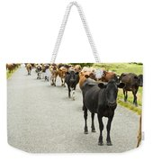 Cattle Drive On A Road  Weekender Tote Bag