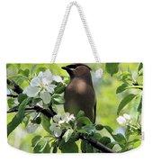 Cedar Waxwing Among Apple Blossoms Weekender Tote Bag