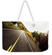 Center Lines Along A Paved Road In Autumn Weekender Tote Bag