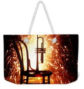 Chair And Horn With Fireworks Weekender Tote Bag