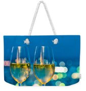 Champagne Glasses In Front Of A Window Weekender Tote Bag