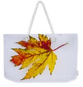 Changing Autumn Leaf In The Snow Weekender Tote Bag