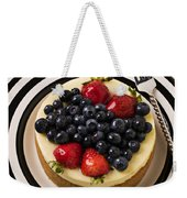 Cheese Cake On Black And White Plate Weekender Tote Bag