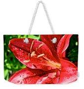 Cherry Red Lily Weekender Tote Bag