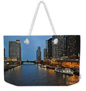 Chicago River At Twilight Weekender Tote Bag