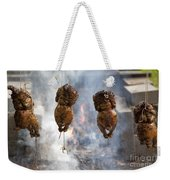 Chickens Roasting On Open Pit Fire Weekender Tote Bag