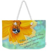 Child Birthday Greeting From Parent Parents - Cosmos And Bumblebee Weekender Tote Bag