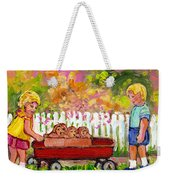 Chilrens Art-boy And Girl With Wagon And Puppies Weekender Tote Bag