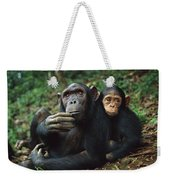 Chimpanzee Adult Female With Orphan Baby Weekender Tote Bag