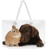 Chocolate Labrador Pup Weekender Tote Bag