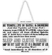 Cholera Broadside 1849 Weekender Tote Bag