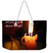 Christmas Candle Peace Greeting  Weekender Tote Bag