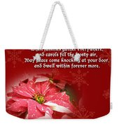 Christmas Card - Red And White Poinsettia Weekender Tote Bag