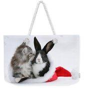 Christmas Kitten And Rabbit Weekender Tote Bag