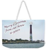 Christmas Lighthouse Card - From Our House To Yours Card Weekender Tote Bag