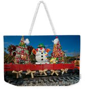 Christmas Snowman On Rails Weekender Tote Bag