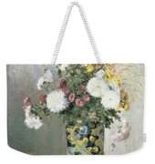 Chrysanthemums In A Chinese Vase Weekender Tote Bag by Camille Pissarro