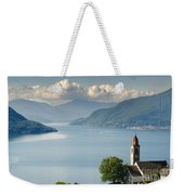 Church Close To An Alpine Lake Weekender Tote Bag