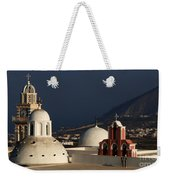 Churches In Fira Greece Weekender Tote Bag