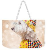 Circus Clown Dog Weekender Tote Bag by Edward Fielding
