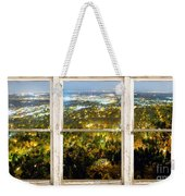City Lights White Rustic Picture Window Frame Photo Art View Weekender Tote Bag