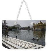 Clearing The Sarovar Inside The Golden Temple Resorvoir Weekender Tote Bag