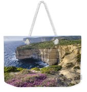 Cliffs Along Ocean With Wildflowers Weekender Tote Bag