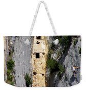 Climber Near Prehistoric Cliff Dwelling Weekender Tote Bag