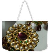 Close Up Of The Gold And Diamond Setting Of A Large Necklace Weekender Tote Bag