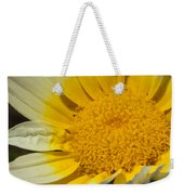 Close Up Of The Inside Of A Yellow And White Sun Flower Weekender Tote Bag