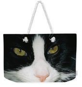 Close View Of Black And White Tabby Cat Weekender Tote Bag