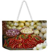 Close View Of Chili Peppers And Other Weekender Tote Bag