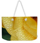 Close View Of Dew On Olympic Gold Rose Weekender Tote Bag