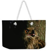 Close View Of Owl Near A Tree Trunk Weekender Tote Bag