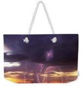 Cloud To Ground Lightning At Sunset Weekender Tote Bag