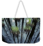 Clumps Of Grass In Water Reflecting Weekender Tote Bag