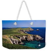 Coastal Cliffs And Seascape With Boat Weekender Tote Bag