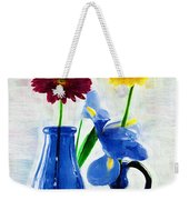 Cobalt Blue Glass Bottles And Gerbera Daisies Weekender Tote Bag