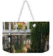 Cobblers Bridge And Morning Reflections In Ljubljana Weekender Tote Bag by Greg Matchick
