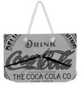 Coca Cola Clock In Black And White Weekender Tote Bag