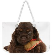 Cocker Spaniel Pup With Chew Treat Weekender Tote Bag