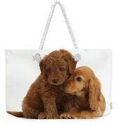 Cocker Spaniel Puppy And Goldendoodle Weekender Tote Bag
