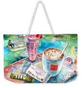 Coffee Break In Agios Nikolaos In Crete Weekender Tote Bag