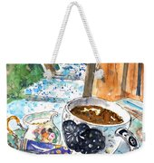 Coffee Break In Elos In Crete Weekender Tote Bag
